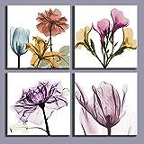 Decoración de la pared de múltiples colores Elegantes flores florales abstracto moderno Obra de arte sobre lienzo 4 piezas de madera Marco listo para colgar de la sala de estar dormitorio Baño 16x16