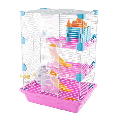PETMAKER Hamster Cage Habitat, 3 Story Critter/Gerbil/Small Animal Starter Kit with Attachments/Accessories- Water Bottle, Tunnel Ladders, Wheel ()