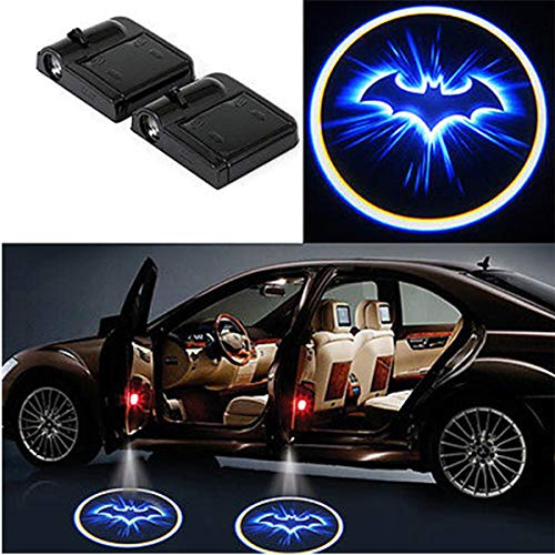 Houkiper 2pcs Universal Car Door Wireless Welcome Light LED Projector Logo Lamp Ghost Shadow Light Bat Man - Battery Operated