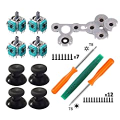 Package includes: 4 x 3D Analog Joysticks 4 x Thumbsticks cap 1 x Conductive Rubber  1 x Torx T8 Screwdrivers(7pcs screws ) 1 x Torx T6 Screwdrivers(12pcs screws ) 1 x Pry Opening Repair Tool