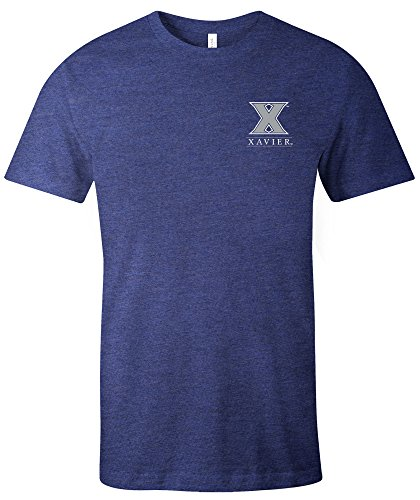 NCAA Xavier Musketeers Adult NCAA Simple Mascot Short sleeve Triblend T-Shirt,Large,Navy ()