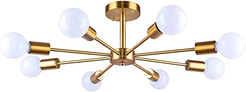 Lingkai Industrial Ceiling Chandeliers Light Creative Retro 8-Light Close to Ceiling Light Metal Art Flush Mount Ceiling Lighting Fixture Pendant Lighting
