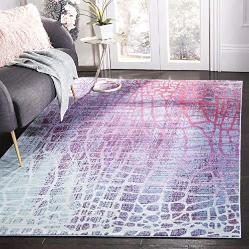 Safavieh Valencia Collection VAL204D Blue and Fuchsia Distressed Abstract Silky Polyester Area Rug (4' x 6') ()