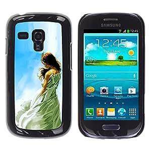 Caucho caso de Shell duro de la cubierta de accesorios de protección BY RAYDREAMMM - Samsung Galaxy S3 MINI 8190 - Muchacha soñadora ÓLEO