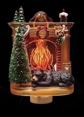 Sleeping Winter Bear by Fireplace 6 x 4 Inch Plastic Swivel Base Wall Plug In Night (Roman Six Light)