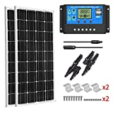 SUNGOLDPOWER 200 Watt 12V Monocrystalline Solar Panel Module:2pcs 100W Monocrystalline Solar Panel Solar Cell Grade A +20A LCD PWM Charge Controller Solar+MC4 Extension Cables+2 Sets of Z-Bracket