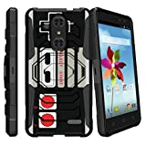 MINITURTLE Case Compatible w/ ZTE Grand X4 Hard Case, Grand X4 Case, Z956 Case[Armor Reloaded] Rugged Impact Protector Case + Clip Holster and Stand Heavy Duty - Game Controller Retro