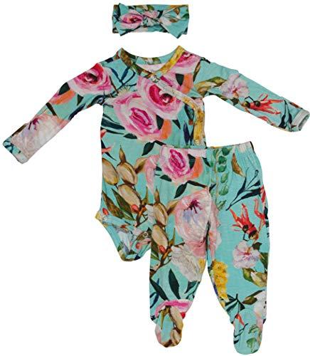 (Baby Three Piece Kimono Set - Infant Bodysuit with Matching Beanie (Tuscan Teal))