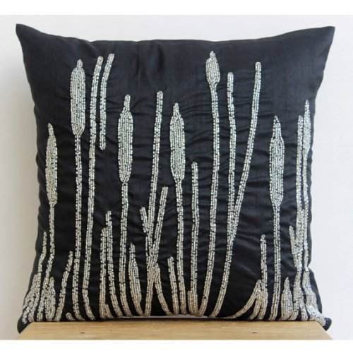 "22""x22"" Cushion Covers, Black Decorative Pillow Cover, Beaded Millet Grass Design Pillows Cover, Art Silk Square Pillow Cases, Floral Contemporary Decorative Throw Pillow Covers - Black Beauty"