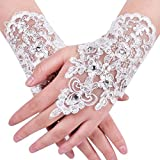 MisShow Lace Fingerless Rhinestone Bridal Gloves for Wedding Party,White,One Size