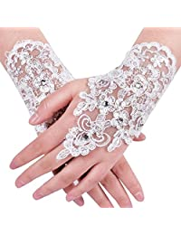 Bridal Fingerless Gloves Wedding Formal Evening Party Lace Gloves