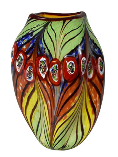 Dale Tiffany Peacock Feather Hand Blown Art Glass Vase Green, Yellow, Orange and Blue