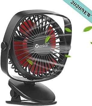 VersionTECH. Mini ventilador USB, silencioso ventilador de mesa con batería recargable, 3 velocidades, giratorio 360 grados ajustable para PC, dormitorio, oficina, coche, camping, etc. negro Negro: Amazon.es: Electrónica