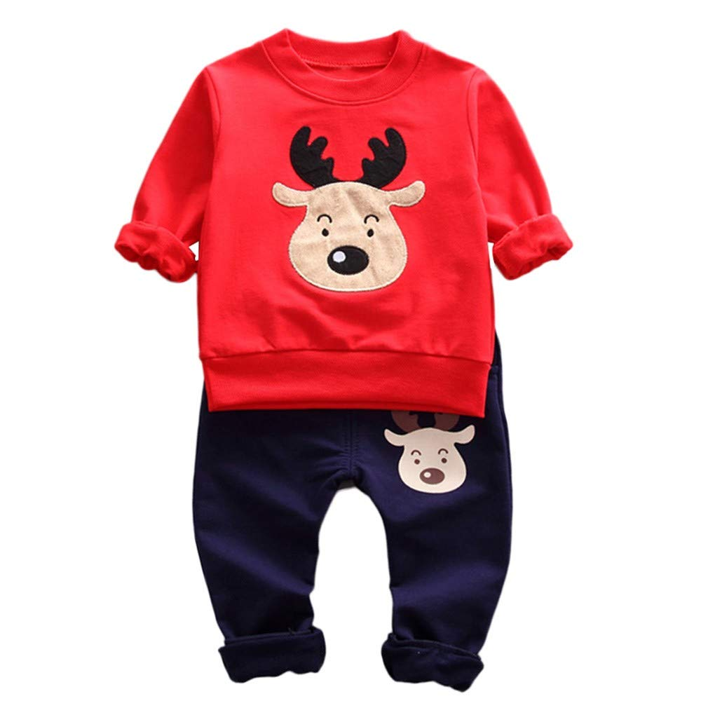 Zerototens Christmas Clothing Set,0-3 Years Old Toddler Baby Long Sleeve Cartoon Deer Print Sweatshirt Pullover Tops and Long Pants Autumn Winter Casual Outfits Set