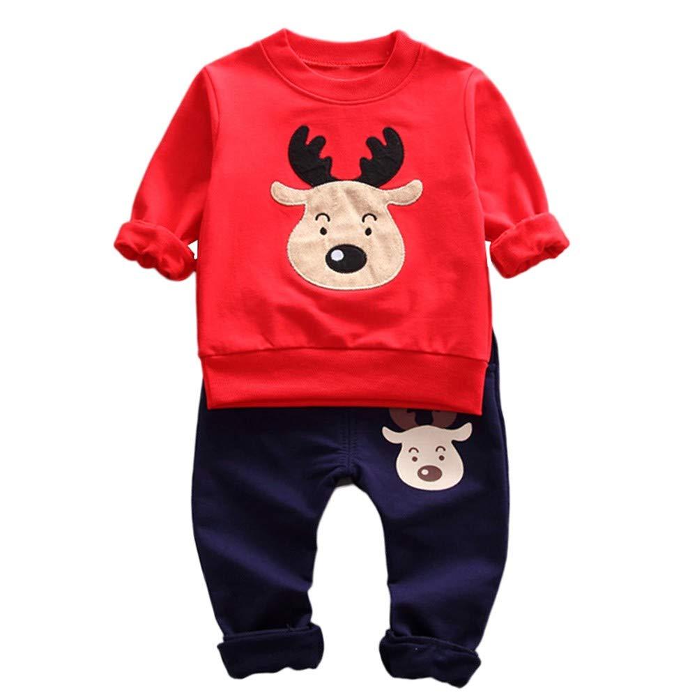 Robemon vêtement bébé Noël Enfant Filles garçons Dessin animé cerf Pullover Tops Pantalons Tenues Ensemble 2pcs Ensembles 0.5-3Ans