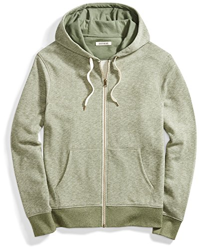 Goodthreads Men's French Terry Full-Zip Hoodie, Pine Green Heather, Large