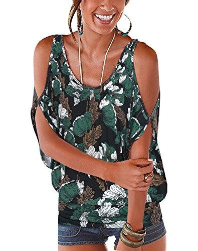 (YOINS Top for Women Random Floral Print Cold Shoulder Scoop Neck Loose Tie up Back T Shirts Navy-04 XL)