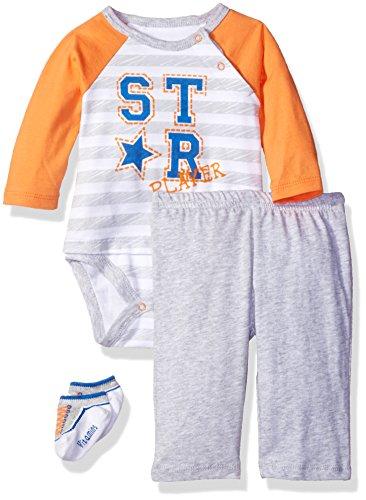 - Vitamins Baby Boys' ' T Shirt Look Screen Print 3 Piece Creeper Pant Set, Star Player, 6 Months