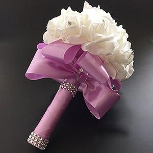 FIDDY898 Romantic Wedding Bride Holding Bouquet Roses with Crystal Diamond Ribbon Artificial Foam Flower Bouquet Light Purple 3