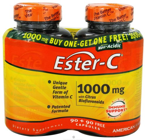(Ester C With Bioflavonoids Bogo 1000 mg - 180 Caps Total)