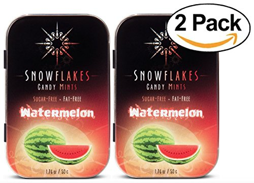 (Watermelon Xylitol Candy Chips (2-Pack) - Snowflakes (2) 50g Tins - Handcrafted with ONLY 2 Ingredients   Diabetic-friendly, Non-GMO, Vegan, GF & Kosher   Purest sugar-free candy in the world!)
