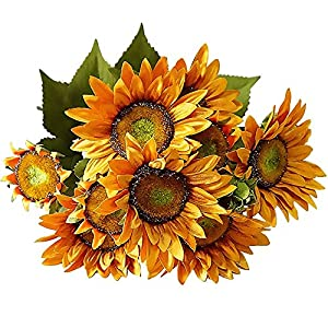 FightingFly Artificial Flowers, Silk Fake Sunflowers, 13 Heads Floral Decor Bouquet Indoor Outdoor Wedding Home Office Decoration Festive Furnishing, Orange 65