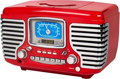 Crosley CR612D-RE Corsair Retro AM/FM Dual Alarm Clock Radio with CD Player and Bluetooth, Red by Crosley (Image #2)
