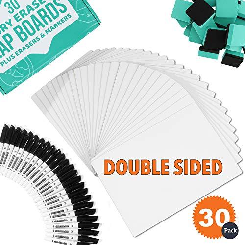 Dry Erase Boards   30pc Classroom Pack Mini Lapboards + 30 Bonus Whiteboard Markers + Felt Erasers - 9
