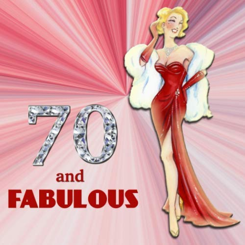 70 and Fabulous: Retro Blonde Bombshell Design 70th Birthday Guest Book for Women - Red & Diamond Sign In Book - Vintage Style Fiftieth Bday Party ... Name and Address - Square Size  8.25 x 8.25 -