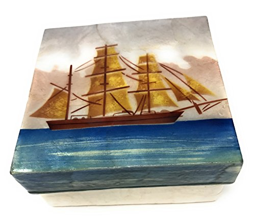 Kubla Craft Clipper Ship Capiz Shell Keepsake Box, 4 Inches Square
