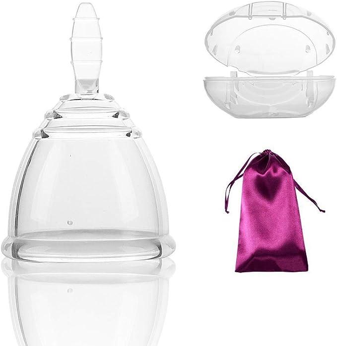 Silicona Copa Menstrual Incluye Bono Bolsa, Reutilizable período Luna Taza para la Salud de Las Mujeres (pequeño)