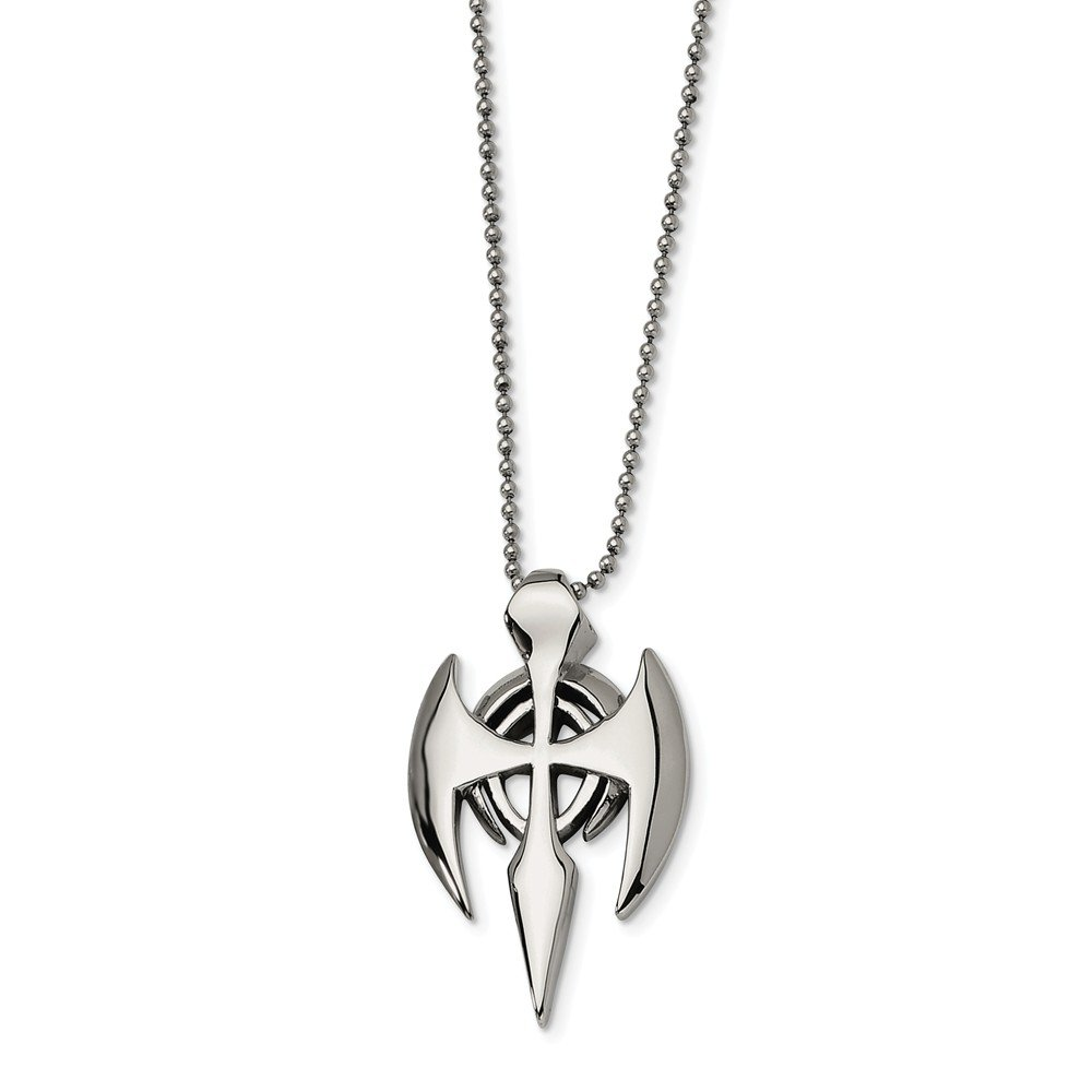 Mens Stainless Steel Stealth Dagger Cross Pendant Necklace 47x29MM 24