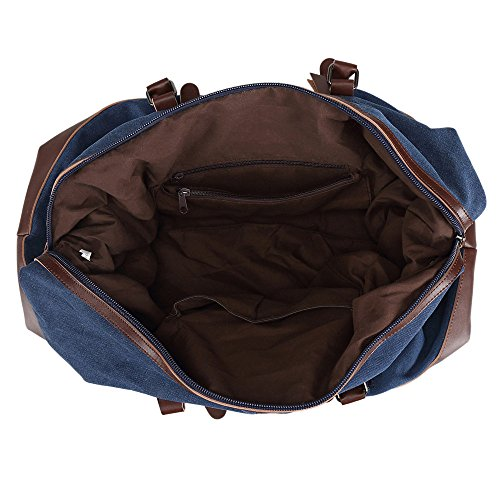 Ulgoo Travel Duffel Bag Canvas Bag PU Leather Weekend Bag Overnight (Deep Blue) by Ulgoo (Image #5)