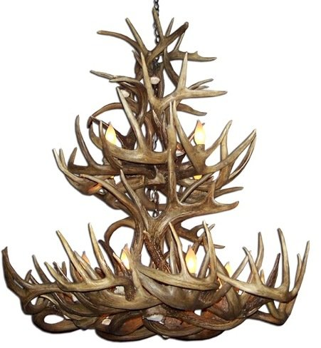 (Reproduction Antler Whitetail Deer Double Tier Chandelier Light)