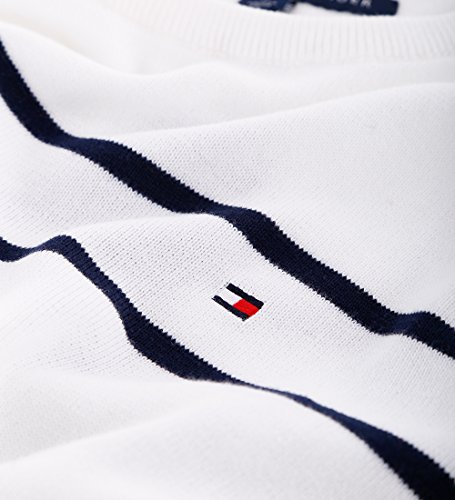 Tommy Hilfiger Crew-Neck Pullover Strickpulli Rundhals weiß gestreift Größe XL