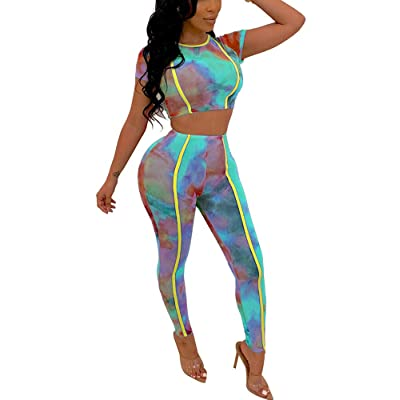 IyMoo Two Piece Outfits for Women Sexy Stripe Bodycon Tracksuits Crop Top Mesh Leggings Sweatsuit at Women's Clothing store