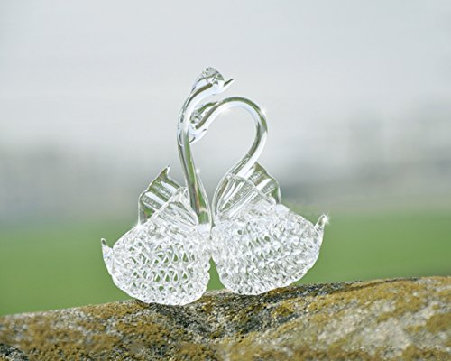 Apol Set of 2 Glass Swans Statue Model Furnish For Home Display Decoration Wedding Birthday Christmas Gifts