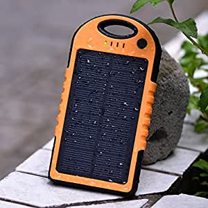 eBoot IPX6 12000mAh Solar Panel Charger Waterproof and Dust/Shockproof Dual USB Port Portable Charger Backup External Battery Power Pack for iPhone 5S 5C 5 4S 4, iPods(Apple Adapters not Included), Samsung Galaxy S5 S4, S3, S2, Note 3, Note 2, Most Kinds of Android Smart Phones, Windows phone and More Other Devices (orange), [Importado de Reino Unido]