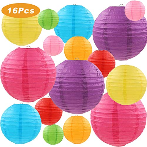 "LURICO 16 Pcs Colorful Paper Lanterns (Multicolor,Size of 4"", 6"", 8"", 10"") - Chinese/Japanese Paper Hanging Decorations Ball Lanterns Lamps for Home Decor, Parties, and Weddings ()"