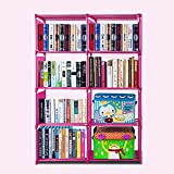Aceshin Children's Bookcase Adjustable Bookshelf Organizer Closet DIY Cube Storage Shelves Unit (8 Cube, Pink)