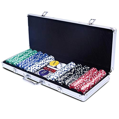 500 Chips Poker Dice Chip Set w/Silver Aluminum Case Professional Style -