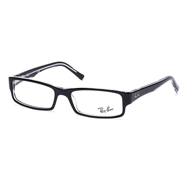 46efb51a3c Ray-Ban RX5246 Glasses in Black on Transparent RX5246 2034 50   Amazon.co.uk  Clothing