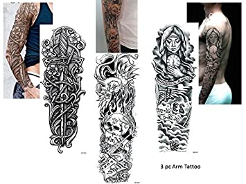 3 Sheet completa Arm Tattoo Negro Fake Tattoo Calavera Espada Cuchillo Longitud 45 cm
