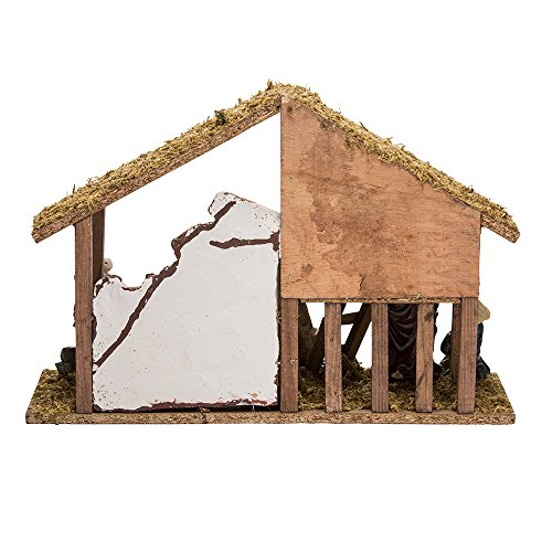 Kurt Adler Wooden Stable With 10 Resin Figures Nativity Set Home Garden Decor Seasonal Holiday