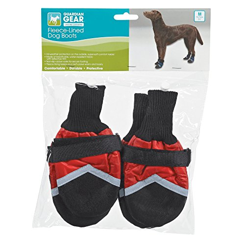 Guardian Gear Fleece-Lined Boots for Dogs, XXL, Red