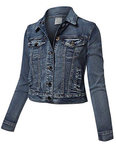 Textured Cropped Jacket (Meilleur Mode Cotton Blue Span Denim Jackets Blue Small)