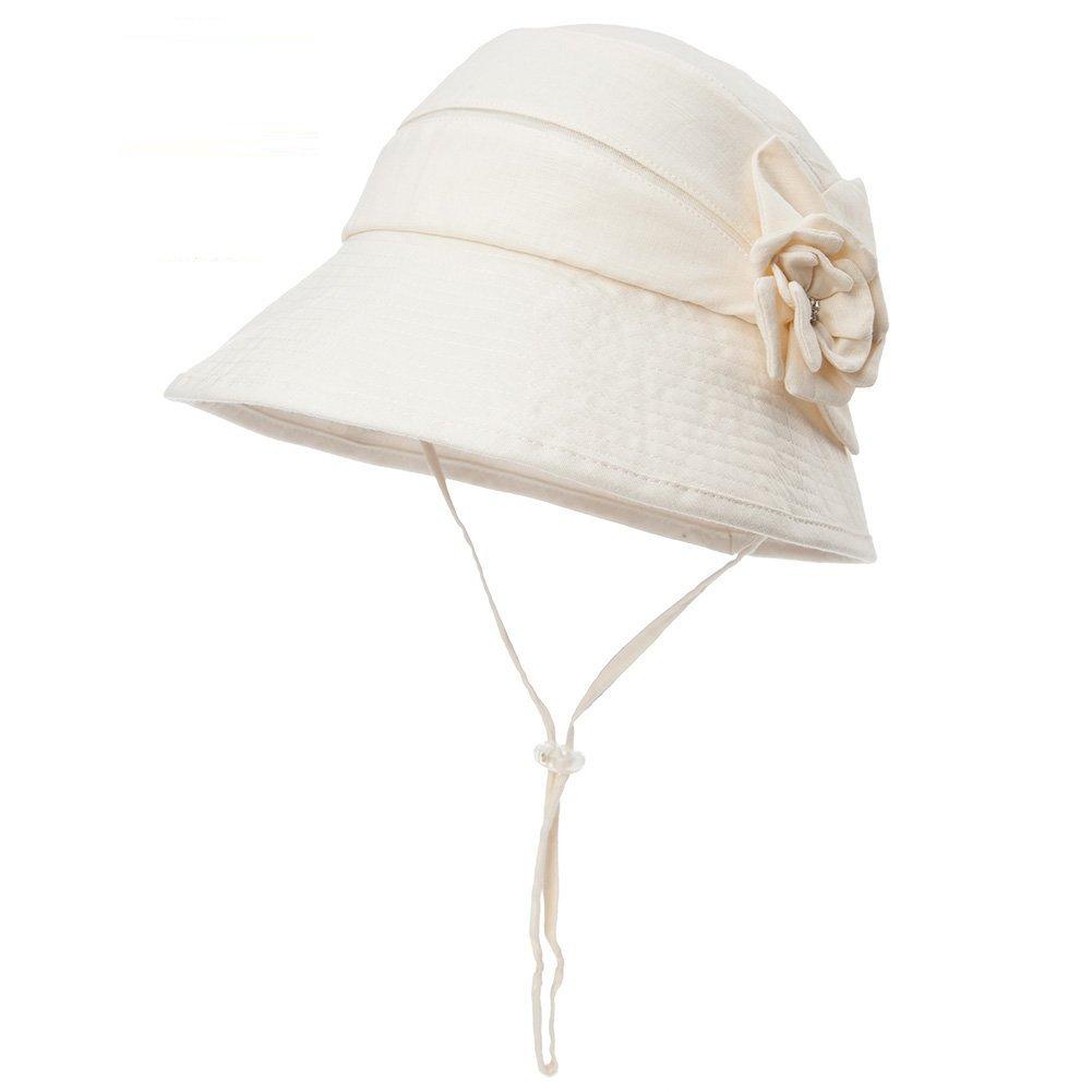 SIGGI Womens UPF50+ Linen/Cotton Summer Sunhat Bucket Packable Foldable Wide Brim Hats w/Chin Cord Beige