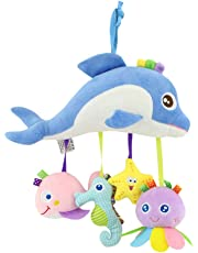 TOYMYTOY Kids Crib Hanging Stuffed Toy Pacified Toy Sea Animal Plush Toy for Baby Toddlers (Dolphin)
