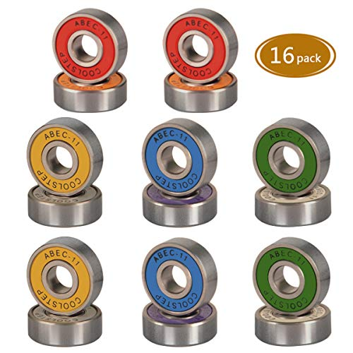 (Spruce Skateboard Bearing, ABEC-9/ABEC-11 High Speed Wearproof Skating Steel Wheel Roller, Precision Skate Bearings for Longboard, Kick Scooter, Inline and Roller Skates (abec-11 (Colorful)- 16)