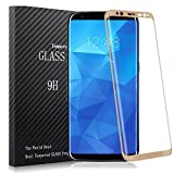 Galaxy S8 Glass Screen Protector, Asstar Full Screen 3D Curved Edge 2.5D Edge Tempered Glass 3D Touch Compatible,Ultra Clear 9H Hardness,Anti-Scratch Film , Bubble Free for Samsung Galaxy S8 (Gold)